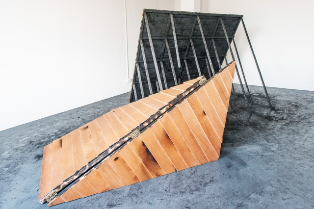 Elizabeth - Anne Curistan. Neither. Plywood, hinges, nails, burnt underside. 2014 MFA show.