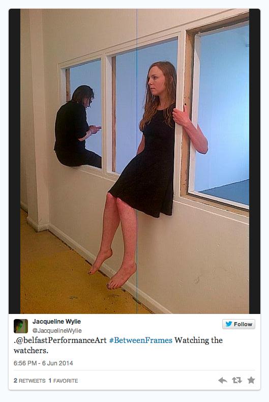 Katrina Sheena - Smyth. Between Frames. Collaboration with Dr. Paula Blair.  Series of five performances. 2014 MFA show.