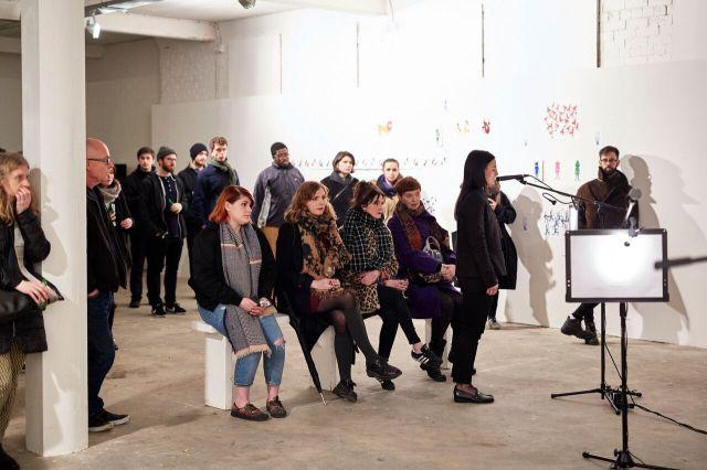 Justine McDonnell. Installation/Performance View. Transmit. MFA Interim show. Platform Arts. 2017