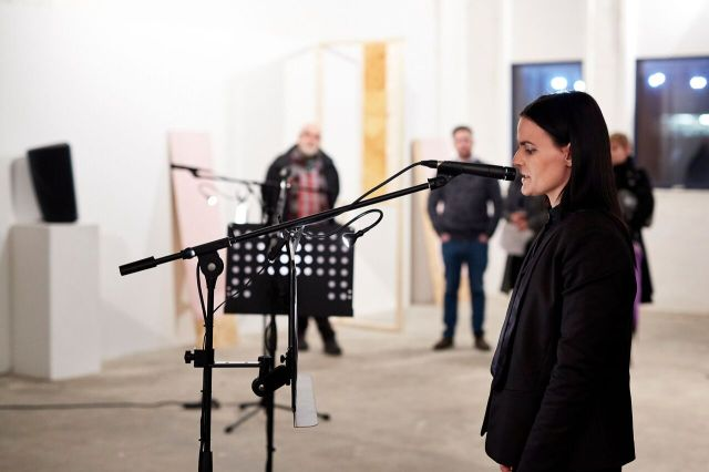 Justine McDonnell. Installation/ Performance view. Transmit. MFA Interim show. Platform Arts. 2017