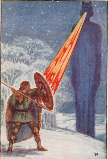 Fionn mac Cumhaill fighting Aillen, illustration by Beatrice Elvery in Violet Russell's Heroes of the Dawn (1914)